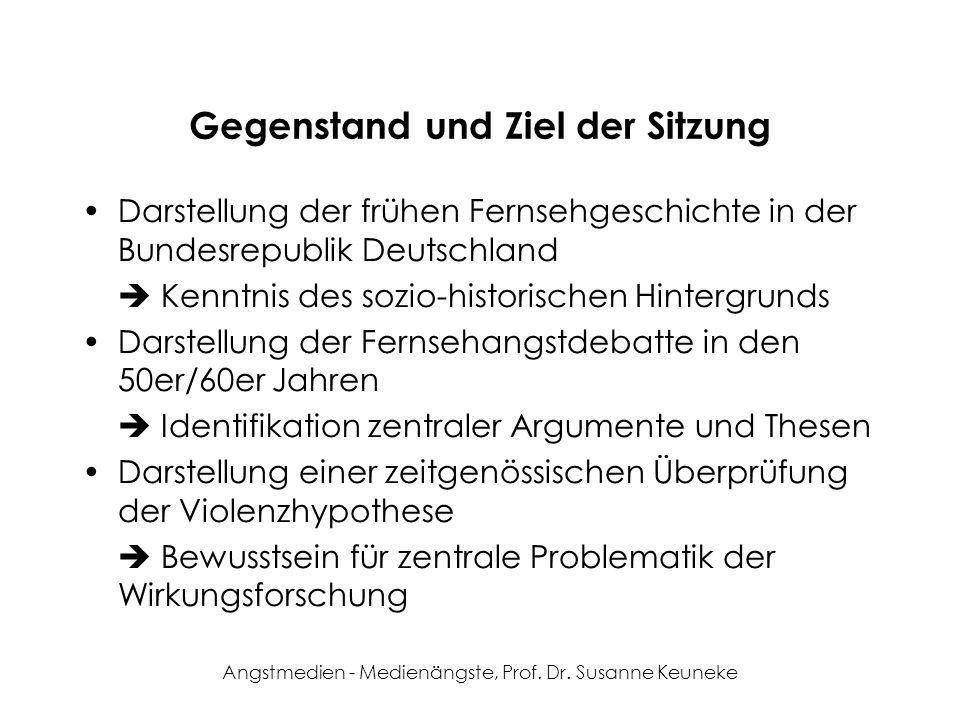 Angstmedien - Medienängste, Prof. Dr. Susanne Keuneke Gegenstand und Ziel der Sitzung Darstellung der frühen Fernsehgeschichte in der Bundesrepublik D