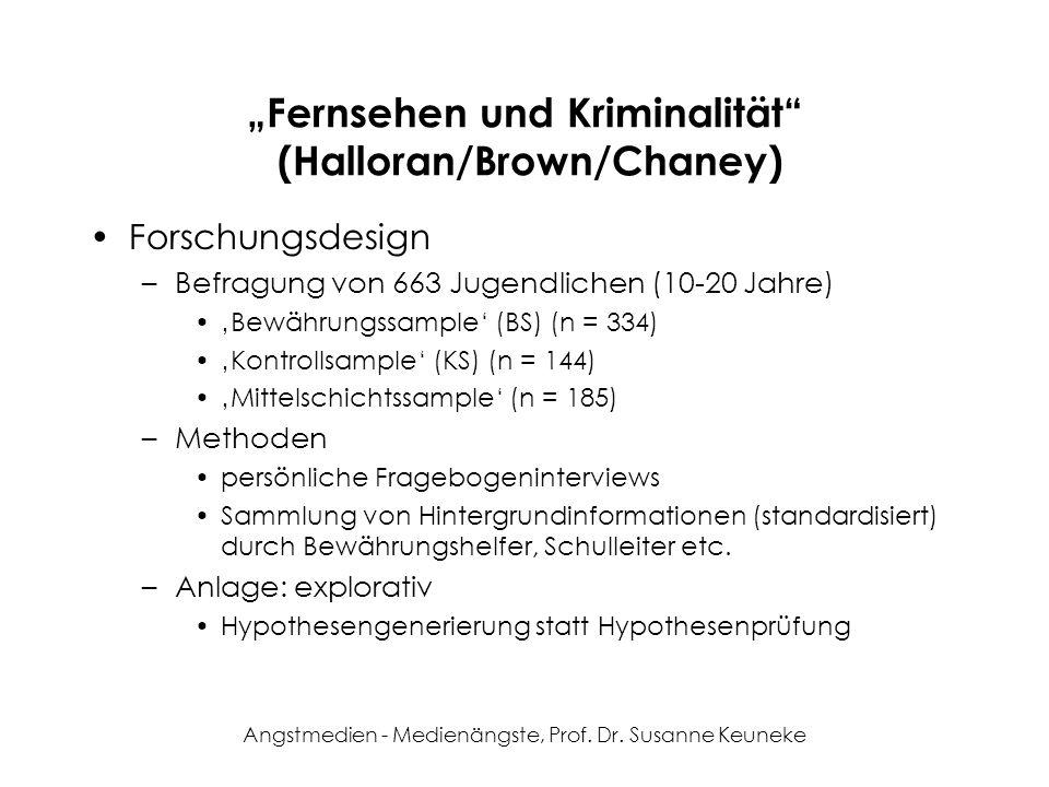 Angstmedien - Medienängste, Prof. Dr. Susanne Keuneke Fernsehen und Kriminalität (Halloran/Brown/Chaney) Forschungsdesign –Befragung von 663 Jugendlic
