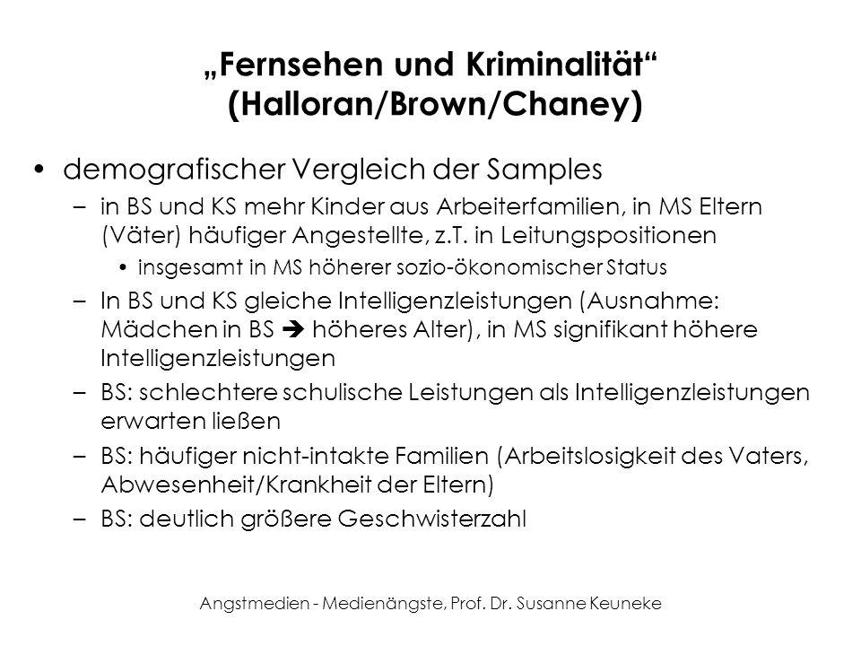 Angstmedien - Medienängste, Prof. Dr. Susanne Keuneke Fernsehen und Kriminalität (Halloran/Brown/Chaney) demografischer Vergleich der Samples –in BS u