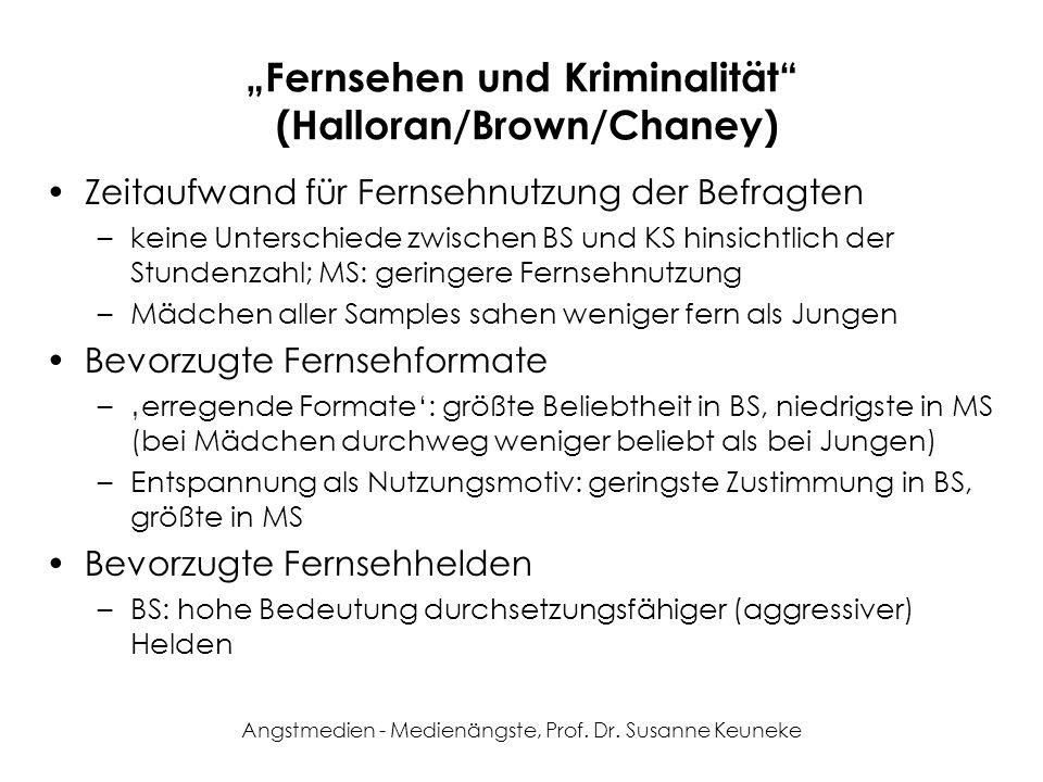 Angstmedien - Medienängste, Prof. Dr. Susanne Keuneke Fernsehen und Kriminalität (Halloran/Brown/Chaney) Zeitaufwand für Fernsehnutzung der Befragten
