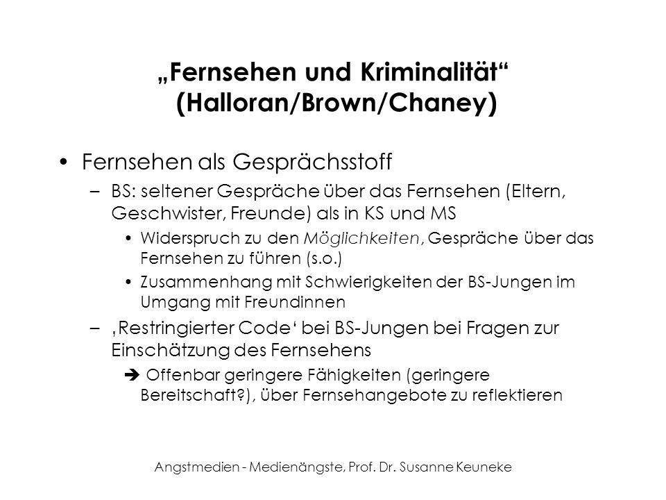 Angstmedien - Medienängste, Prof. Dr. Susanne Keuneke Fernsehen und Kriminalität (Halloran/Brown/Chaney) Fernsehen als Gesprächsstoff –BS: seltener Ge