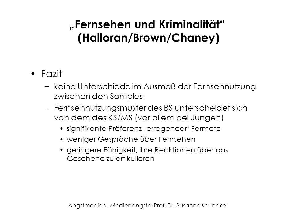 Angstmedien - Medienängste, Prof. Dr. Susanne Keuneke Fernsehen und Kriminalität (Halloran/Brown/Chaney) Fazit –keine Unterschiede im Ausmaß der Ferns