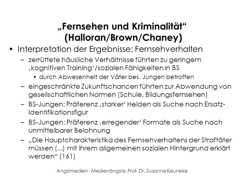 Angstmedien - Medienängste, Prof. Dr. Susanne Keuneke Fernsehen und Kriminalität (Halloran/Brown/Chaney) Interpretation der Ergebnisse: Fernsehverhalt