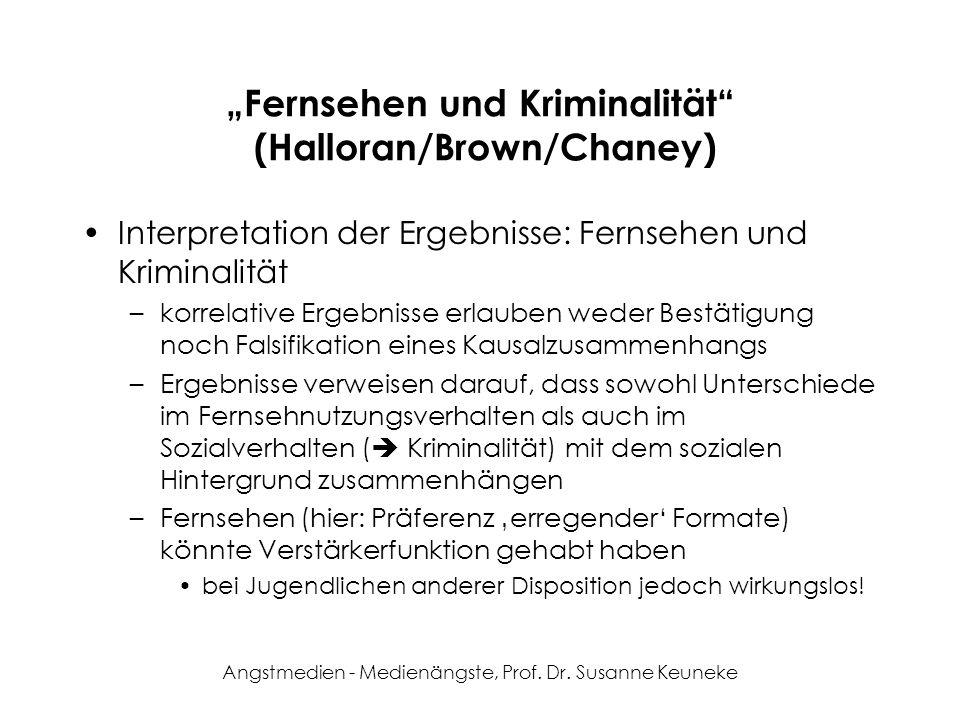 Angstmedien - Medienängste, Prof. Dr. Susanne Keuneke Fernsehen und Kriminalität (Halloran/Brown/Chaney) Interpretation der Ergebnisse: Fernsehen und