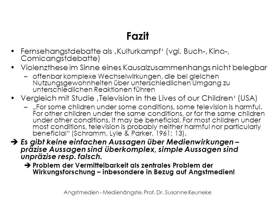 Angstmedien - Medienängste, Prof. Dr. Susanne Keuneke Fazit Fernsehangstdebatte als Kulturkampf (vgl. Buch-, Kino-, Comicangstdebatte) Violenzthese im