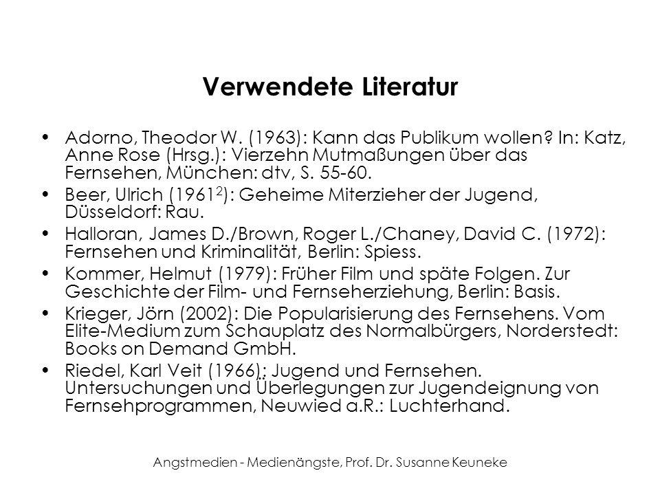 Angstmedien - Medienängste, Prof. Dr. Susanne Keuneke Verwendete Literatur Adorno, Theodor W. (1963): Kann das Publikum wollen? In: Katz, Anne Rose (H