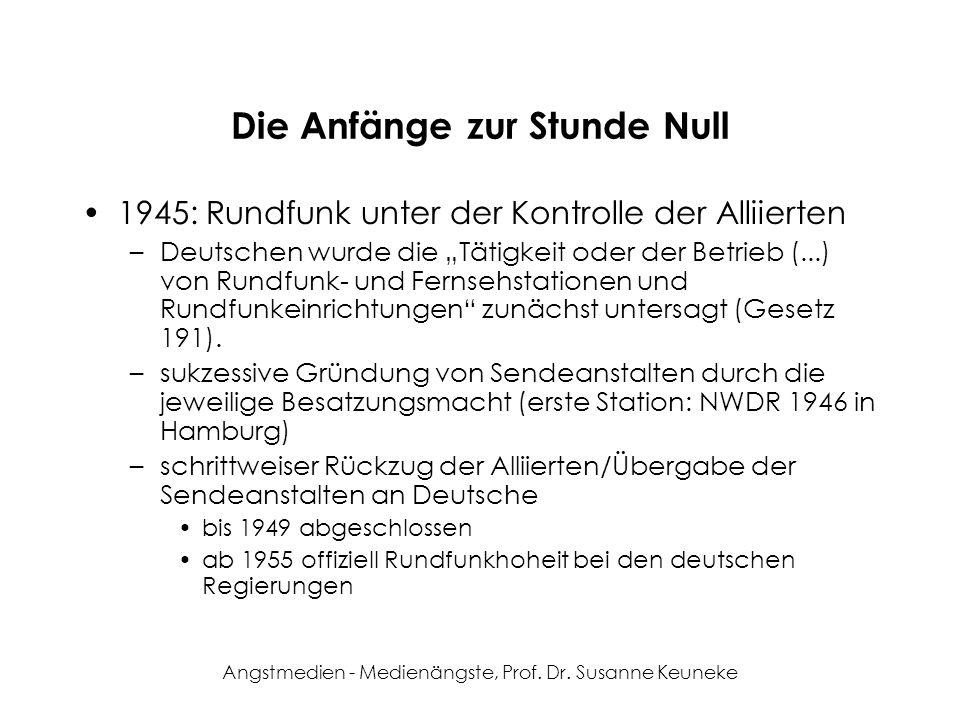 Angstmedien - Medienängste, Prof. Dr. Susanne Keuneke Die Anfänge zur Stunde Null 1945: Rundfunk unter der Kontrolle der Alliierten –Deutschen wurde d