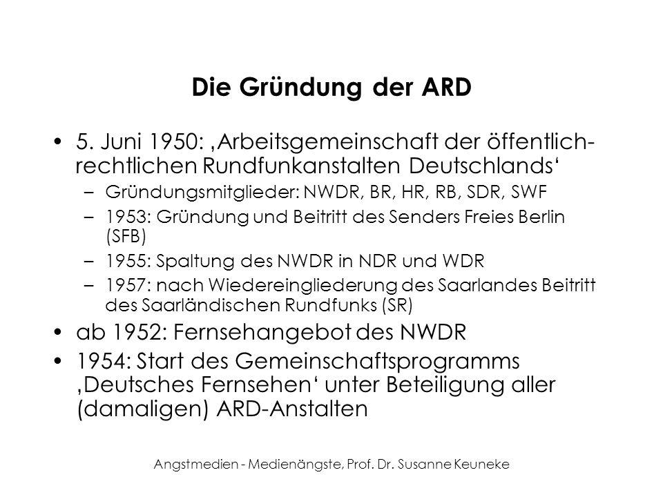 Angstmedien - Medienängste, Prof. Dr. Susanne Keuneke Die Gründung der ARD 5. Juni 1950: Arbeitsgemeinschaft der öffentlich- rechtlichen Rundfunkansta