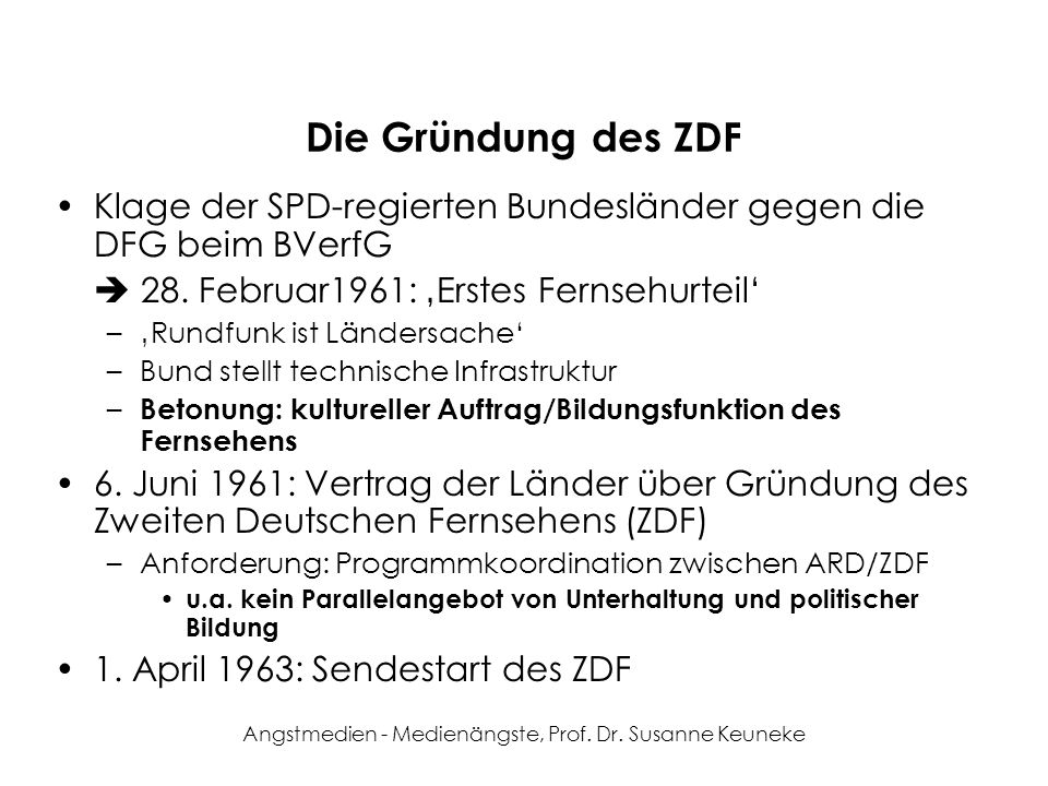Angstmedien - Medienängste, Prof. Dr. Susanne Keuneke Die Gründung des ZDF Klage der SPD-regierten Bundesländer gegen die DFG beim BVerfG 28. Februar1