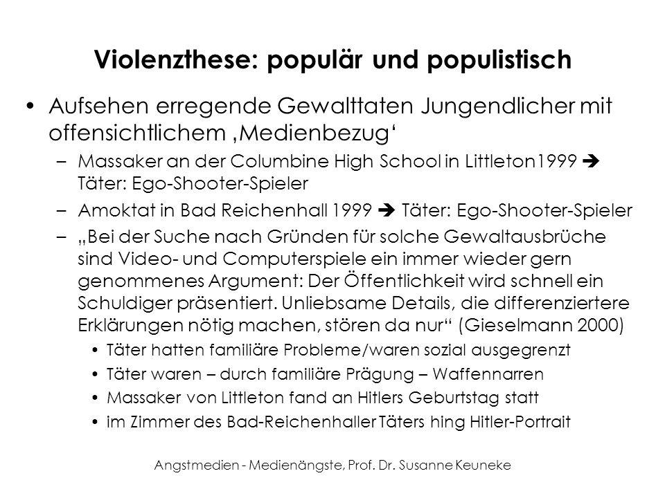 Angstmedien - Medienängste, Prof. Dr. Susanne Keuneke Violenzthese: populär und populistisch Aufsehen erregende Gewalttaten Jungendlicher mit offensic