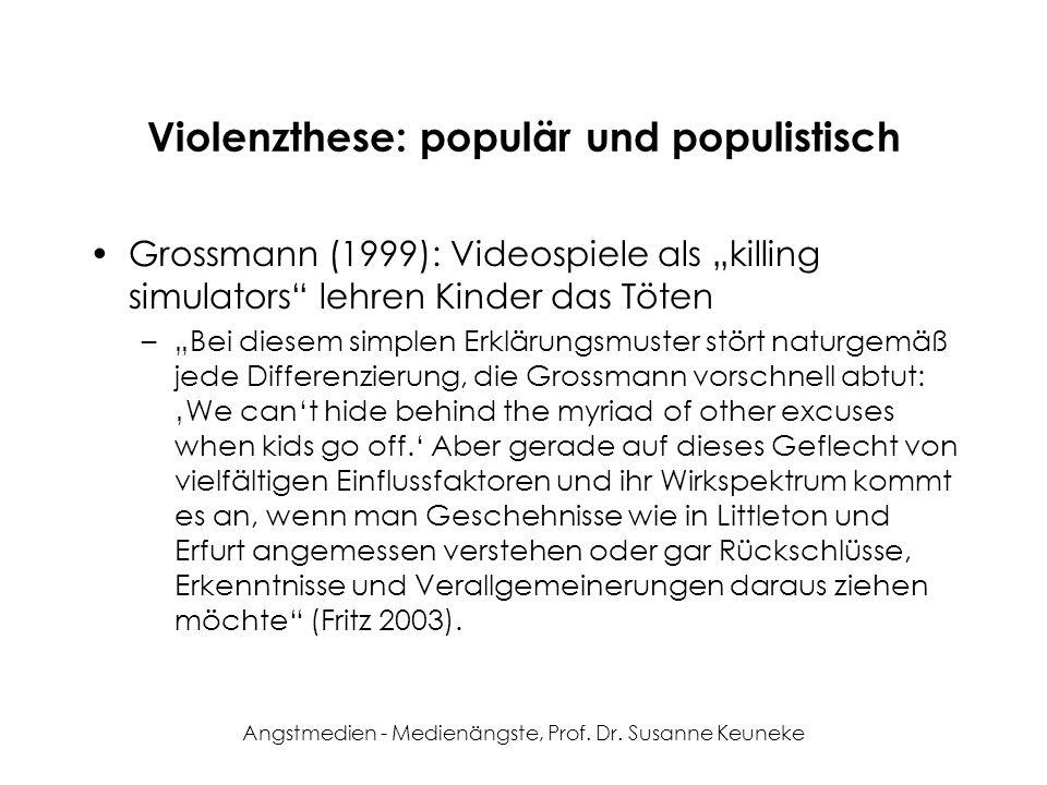 Angstmedien - Medienängste, Prof. Dr. Susanne Keuneke Violenzthese: populär und populistisch Grossmann (1999): Videospiele als killing simulators lehr