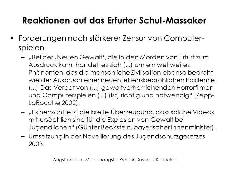 Angstmedien - Medienängste, Prof. Dr. Susanne Keuneke Reaktionen auf das Erfurter Schul-Massaker Forderungen nach stärkerer Zensur von Computer- spiel