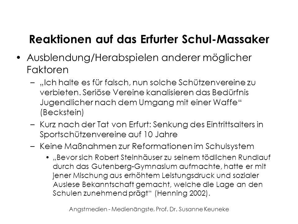 Angstmedien - Medienängste, Prof. Dr. Susanne Keuneke Reaktionen auf das Erfurter Schul-Massaker Ausblendung/Herabspielen anderer möglicher Faktoren –