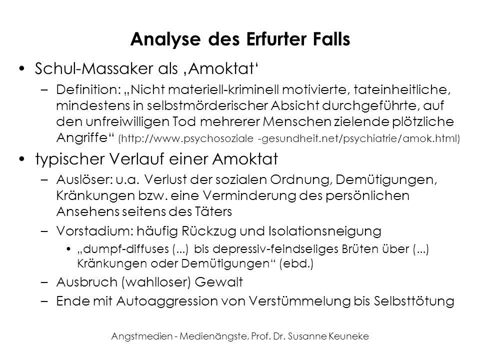 Angstmedien - Medienängste, Prof. Dr. Susanne Keuneke Analyse des Erfurter Falls Schul-Massaker als Amoktat –Definition: Nicht materiell-kriminell mot