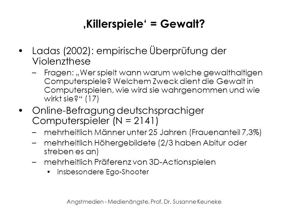 Angstmedien - Medienängste, Prof. Dr. Susanne Keuneke Killerspiele = Gewalt? Ladas (2002): empirische Überprüfung der Violenzthese –Fragen: Wer spielt