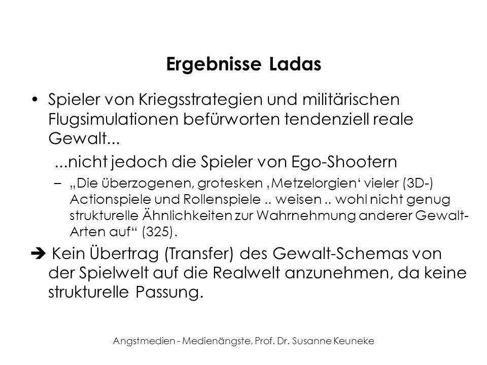 Angstmedien - Medienängste, Prof. Dr. Susanne Keuneke Ergebnisse Ladas Spieler von Kriegsstrategien und militärischen Flugsimulationen befürworten ten