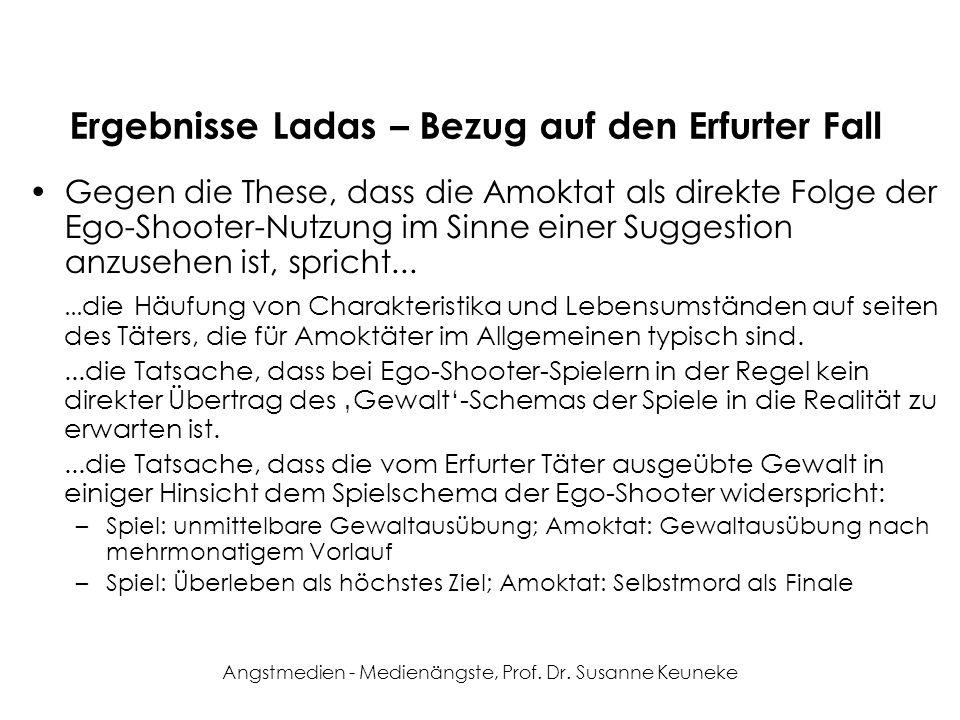Angstmedien - Medienängste, Prof. Dr. Susanne Keuneke Ergebnisse Ladas – Bezug auf den Erfurter Fall Gegen die These, dass die Amoktat als direkte Fol
