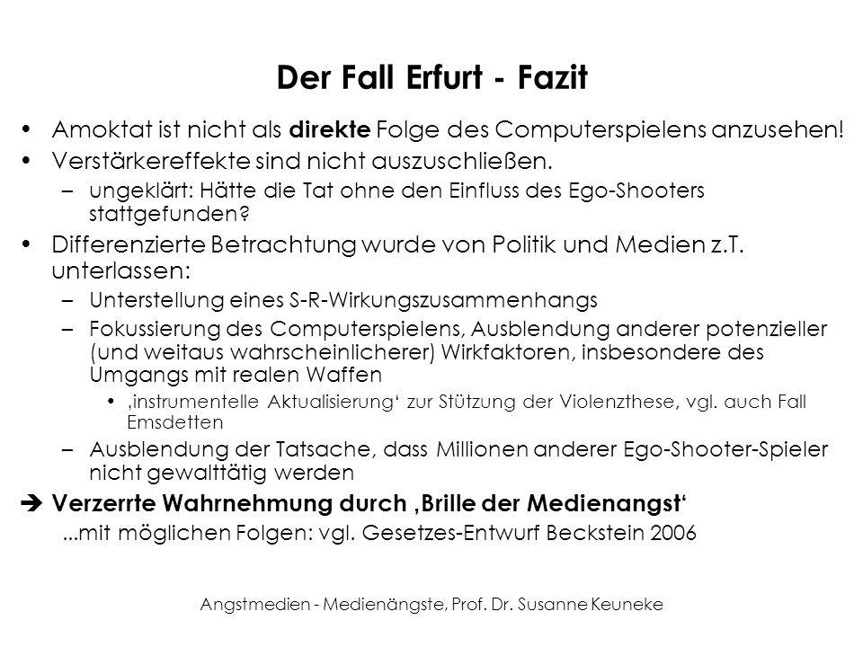 Angstmedien - Medienängste, Prof. Dr. Susanne Keuneke Der Fall Erfurt - Fazit Amoktat ist nicht als direkte Folge des Computerspielens anzusehen! Vers