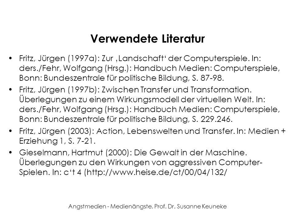 Angstmedien - Medienängste, Prof. Dr. Susanne Keuneke Verwendete Literatur Fritz, Jürgen (1997a): Zur Landschaft der Computerspiele. In: ders./Fehr, W