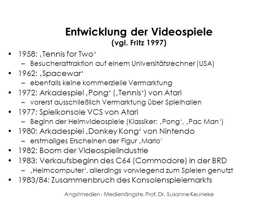 Angstmedien - Medienängste, Prof. Dr. Susanne Keuneke Entwicklung der Videospiele (vgl. Fritz 1997) 1958: Tennis for Two –Besucherattraktion auf einem