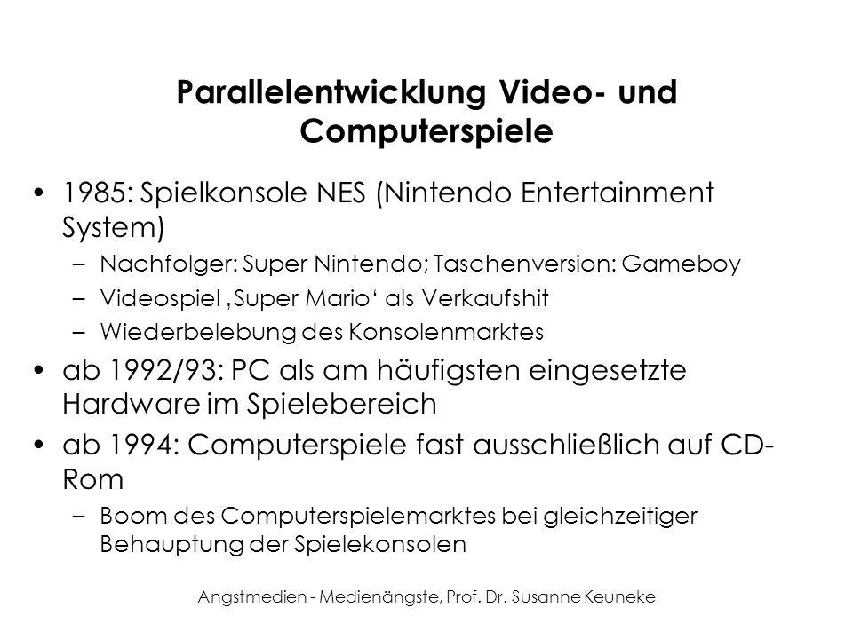 Angstmedien - Medienängste, Prof. Dr. Susanne Keuneke Parallelentwicklung Video- und Computerspiele 1985: Spielkonsole NES (Nintendo Entertainment Sys