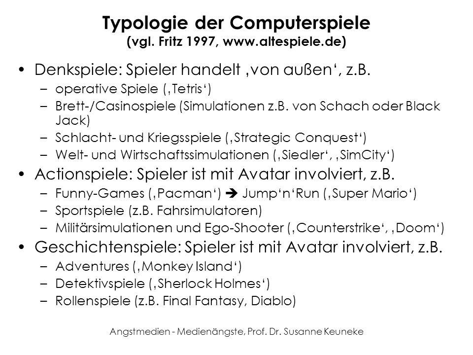 Angstmedien - Medienängste, Prof. Dr. Susanne Keuneke Typologie der Computerspiele (vgl. Fritz 1997, www.altespiele.de) Denkspiele: Spieler handelt vo