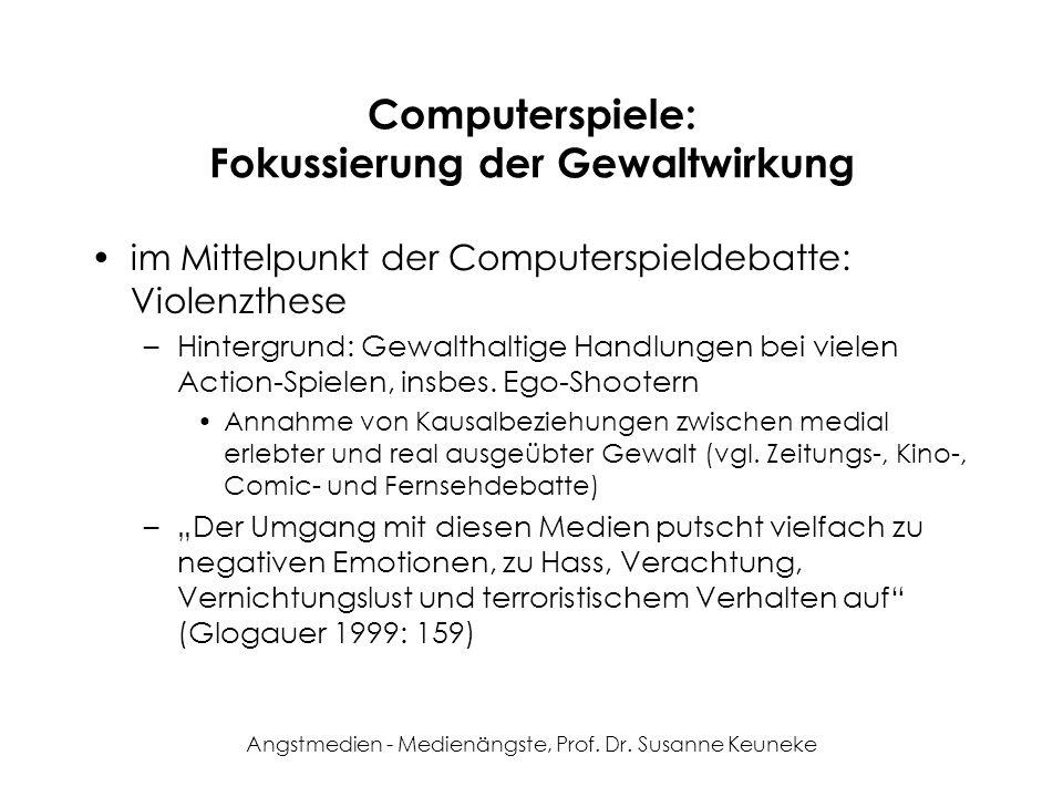 Angstmedien - Medienängste, Prof. Dr. Susanne Keuneke Computerspiele: Fokussierung der Gewaltwirkung im Mittelpunkt der Computerspieldebatte: Violenzt