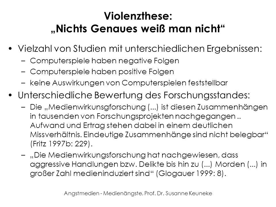 Angstmedien - Medienängste, Prof. Dr. Susanne Keuneke Violenzthese: Nichts Genaues weiß man nicht Vielzahl von Studien mit unterschiedlichen Ergebniss