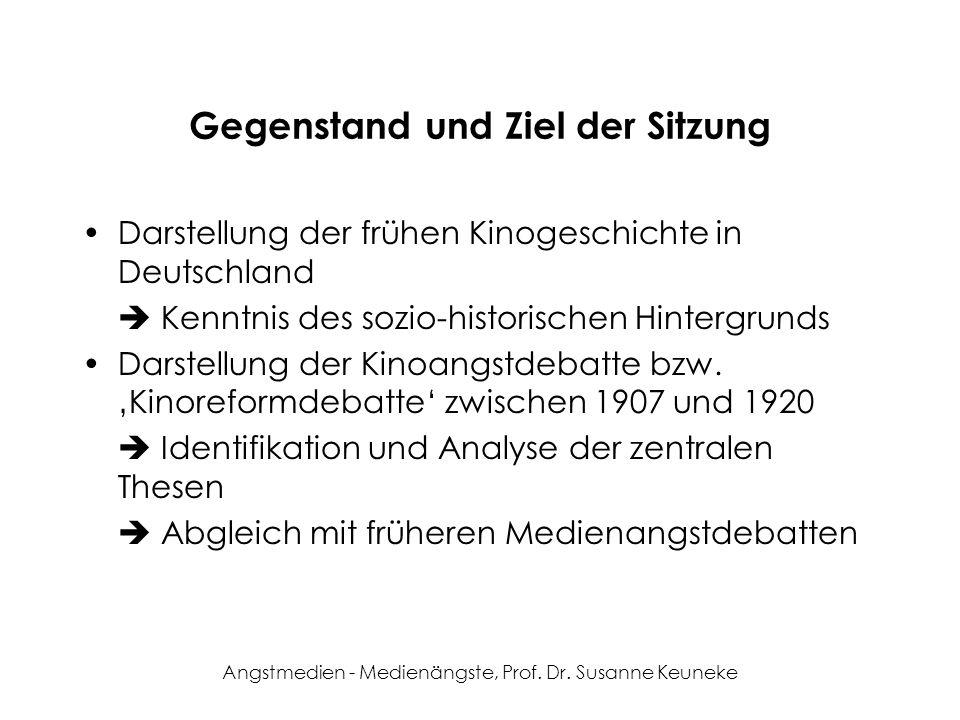 Angstmedien - Medienängste, Prof. Dr. Susanne Keuneke Die Entwicklung des Kinos in Deutschland