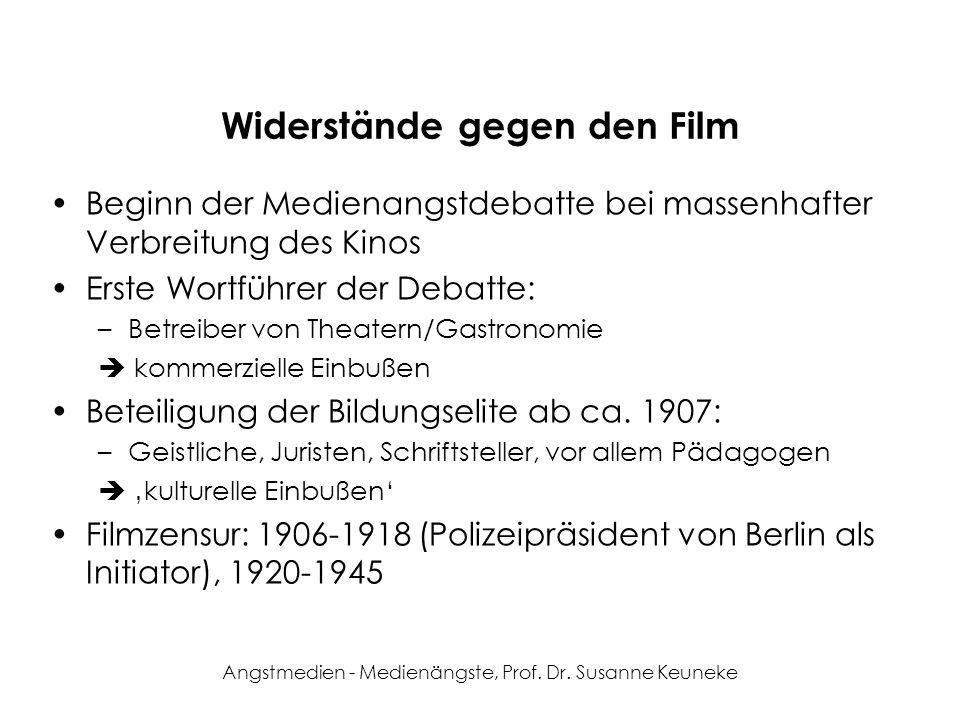 Angstmedien - Medienängste, Prof. Dr. Susanne Keuneke Die Kinoangst/-reformdebatte in Deutschland