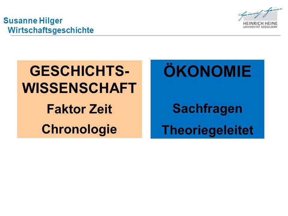 Susanne Hilger Wirtschaftsgeschichte GESCHICHTS- WISSENSCHAFT Faktor Zeit Chronologie ÖKONOMIE Sachfragen Theoriegeleitet