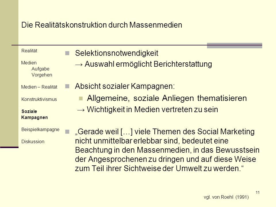 11 Selektionsnotwendigkeit Auswahl ermöglicht Berichterstattung Absicht sozialer Kampagnen: Allgemeine, soziale Anliegen thematisieren Wichtigkeit in