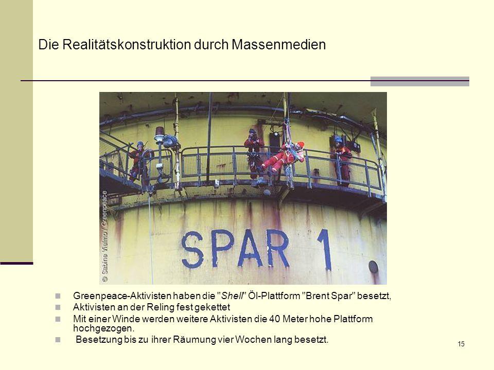 15 Greenpeace-Aktivisten haben die Shell Öl-Plattform Brent Spar besetzt, Aktivisten an der Reling fest gekettet Mit einer Winde werden weitere Aktivisten die 40 Meter hohe Plattform hochgezogen.