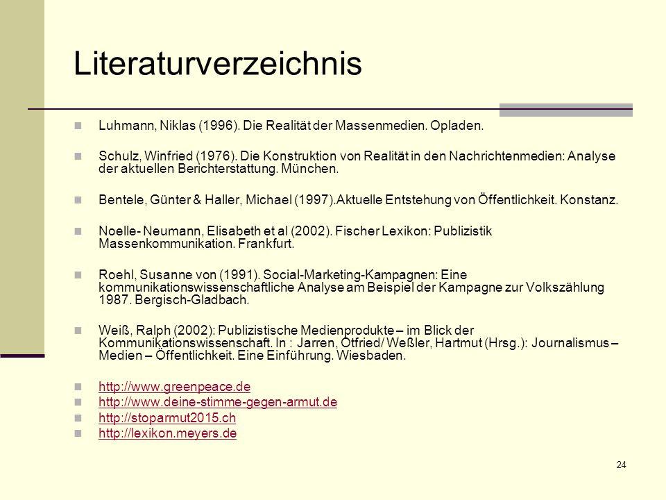 24 Literaturverzeichnis Luhmann, Niklas (1996). Die Realität der Massenmedien. Opladen. Schulz, Winfried (1976). Die Konstruktion von Realität in den