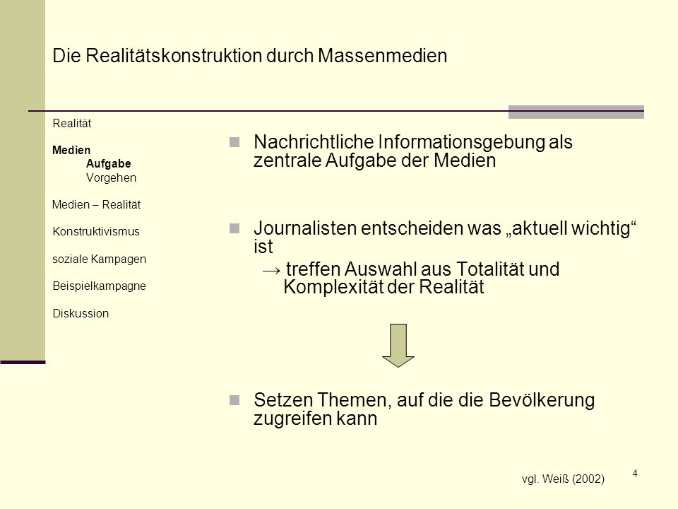 4 Nachrichtliche Informationsgebung als zentrale Aufgabe der Medien Journalisten entscheiden was aktuell wichtig ist treffen Auswahl aus Totalität und
