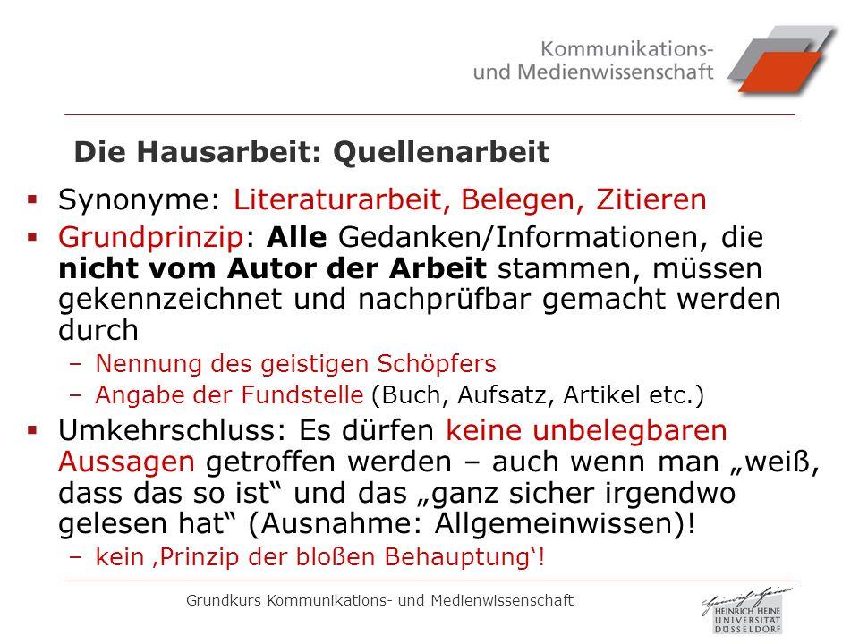 Grundkurs Kommunikations- und Medienwissenschaft Die Hausarbeit: Quellenarbeit Synonyme: Literaturarbeit, Belegen, Zitieren Grundprinzip: Alle Gedanke