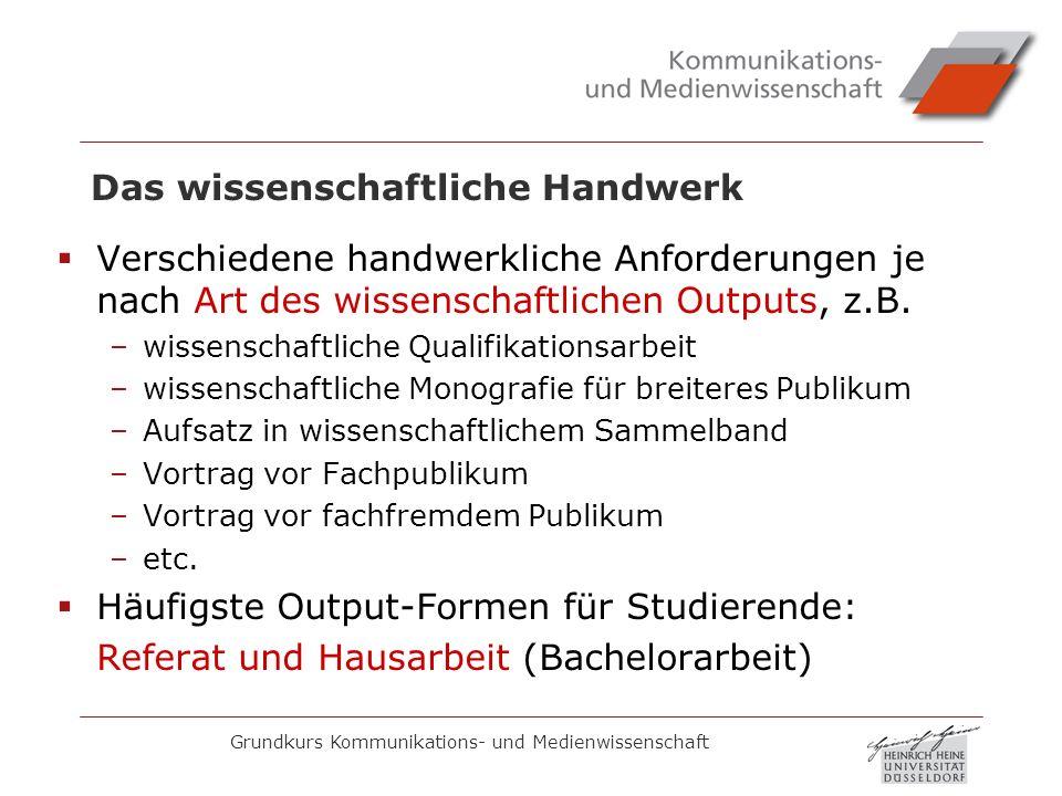 Grundkurs Kommunikations- und Medienwissenschaft Die Hausarbeit: Quellenarbeit Genauere Angaben zur Quellenarbeit (Zitieren, Literaturverzeichnis) unter http://www.phil-fak.uni-duesseldorf.de/kmw- keuneke/ http://www.phil-fak.uni-duesseldorf.de/kmw- keuneke/ Leitfaden für wissenschaftl.