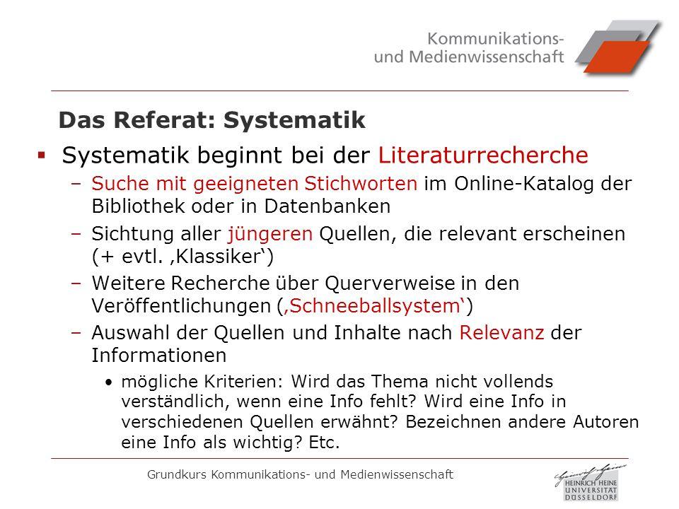 Grundkurs Kommunikations- und Medienwissenschaft Das Referat: Systematik Systematik beginnt bei der Literaturrecherche –Suche mit geeigneten Stichwort