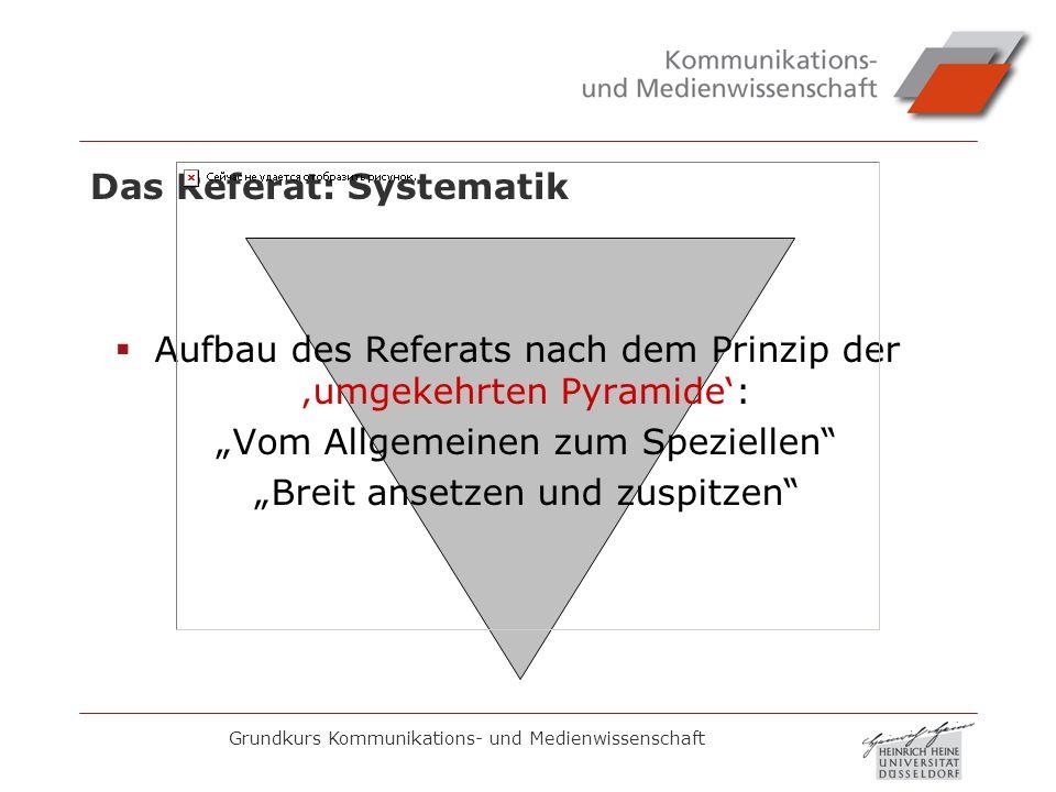Grundkurs Kommunikations- und Medienwissenschaft Das Referat: Systematik Aufbau des Referats nach dem Prinzip der umgekehrten Pyramide: Vom Allgemeine