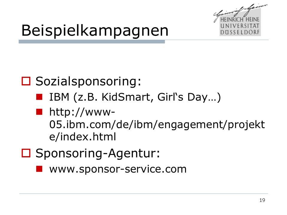 Beispielkampagnen Sozialsponsoring: IBM (z.B.