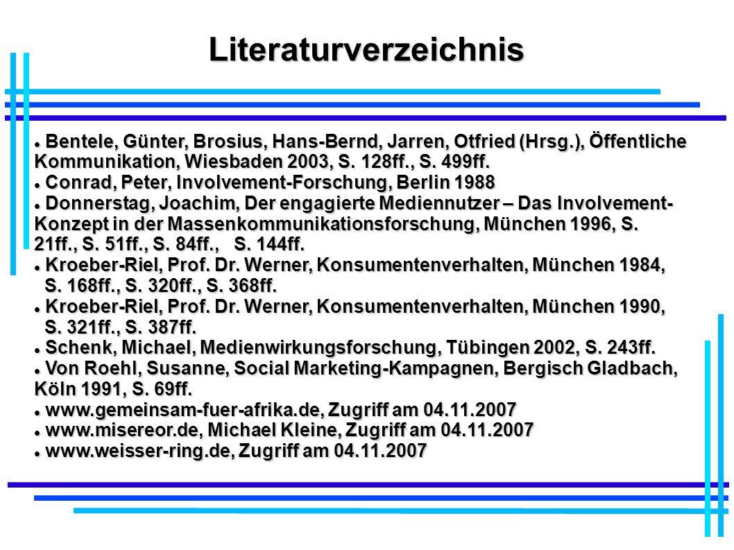 Literaturverzeichnis Bentele, Günter, Brosius, Hans-Bernd, Jarren, Otfried (Hrsg.), Öffentliche Kommunikation, Wiesbaden 2003, S. 128ff., S. 499ff. Be