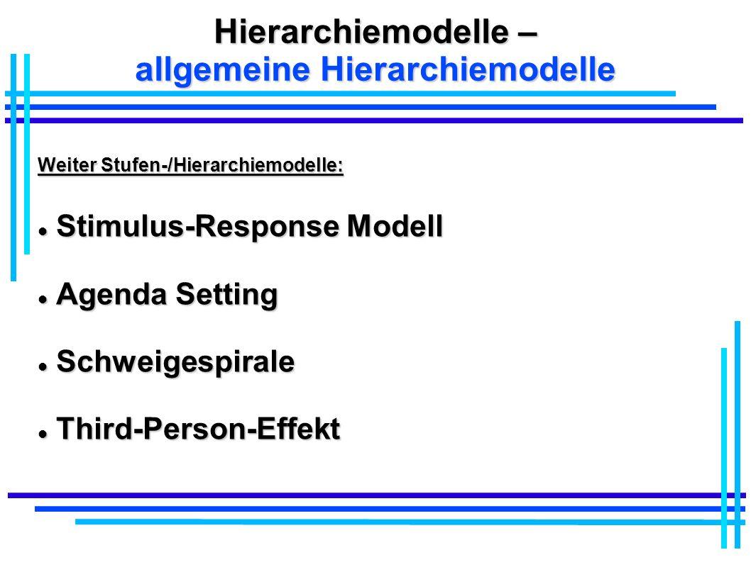 Hierarchiemodelle – allgemeine Hierarchiemodelle Weiter Stufen-/Hierarchiemodelle: Stimulus-Response Modell Stimulus-Response Modell Agenda Setting Ag