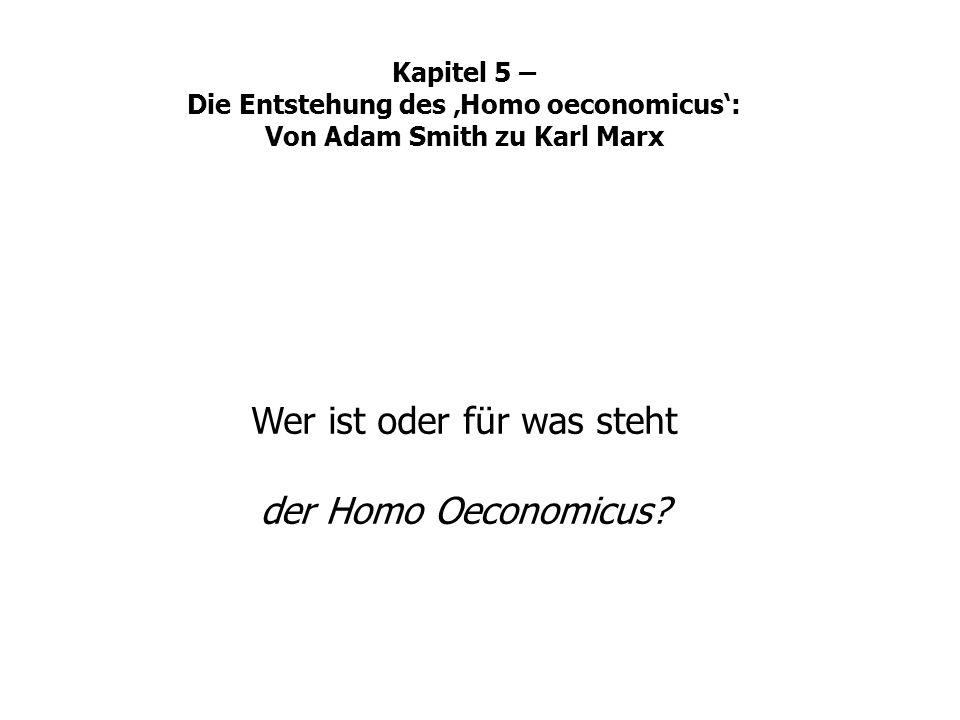 Wer ist oder für was steht der Homo Oeconomicus? Kapitel 5 – Die Entstehung des Homo oeconomicus: Von Adam Smith zu Karl Marx