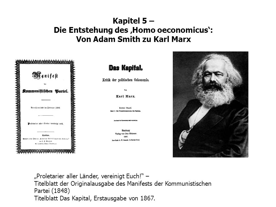 Kapitel 5 – Die Entstehung des Homo oeconomicus: Von Adam Smith zu Karl Marx Proletarier aller Länder, vereinigt Euch! – Titelblatt der Originalausgab