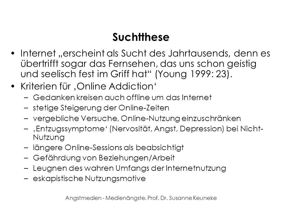 Angstmedien - Medienängste, Prof. Dr. Susanne Keuneke Suchtthese Internet erscheint als Sucht des Jahrtausends, denn es übertrifft sogar das Fernsehen