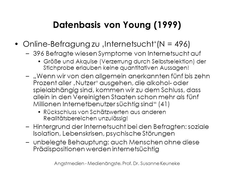 Angstmedien - Medienängste, Prof. Dr. Susanne Keuneke Datenbasis von Young (1999) Online-Befragung zu Internetsucht(N = 496) –396 Befragte wiesen Symp
