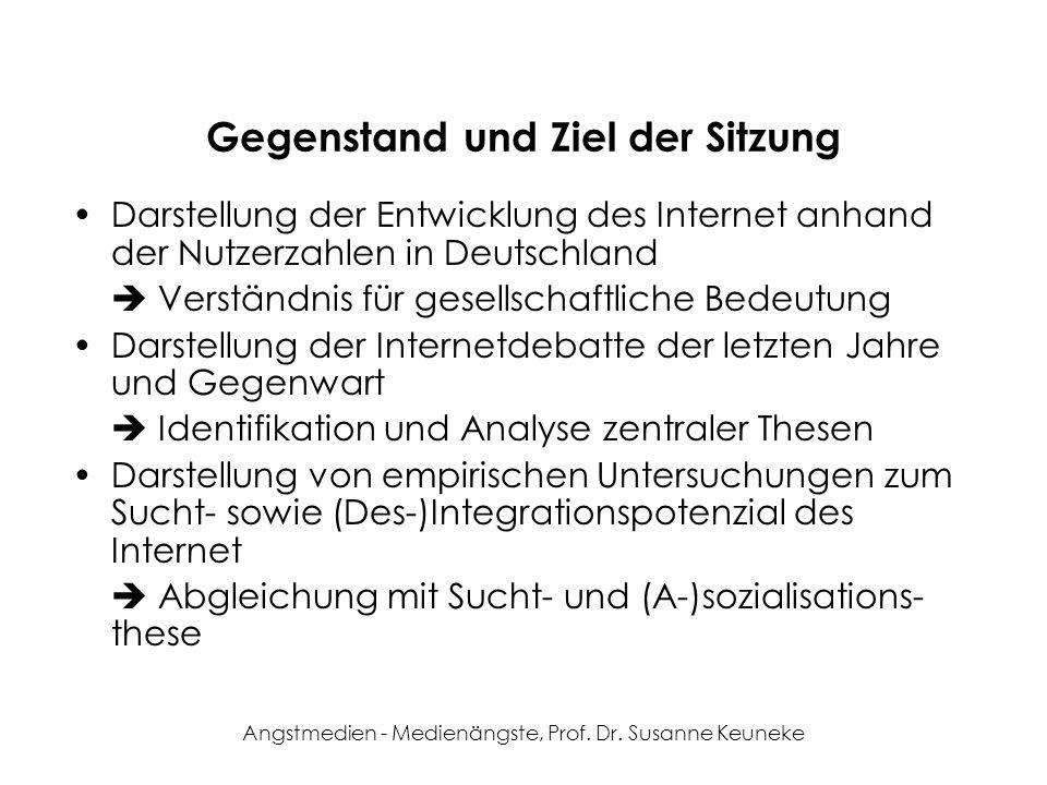 Angstmedien - Medienängste, Prof. Dr. Susanne Keuneke Gegenstand und Ziel der Sitzung Darstellung der Entwicklung des Internet anhand der Nutzerzahlen