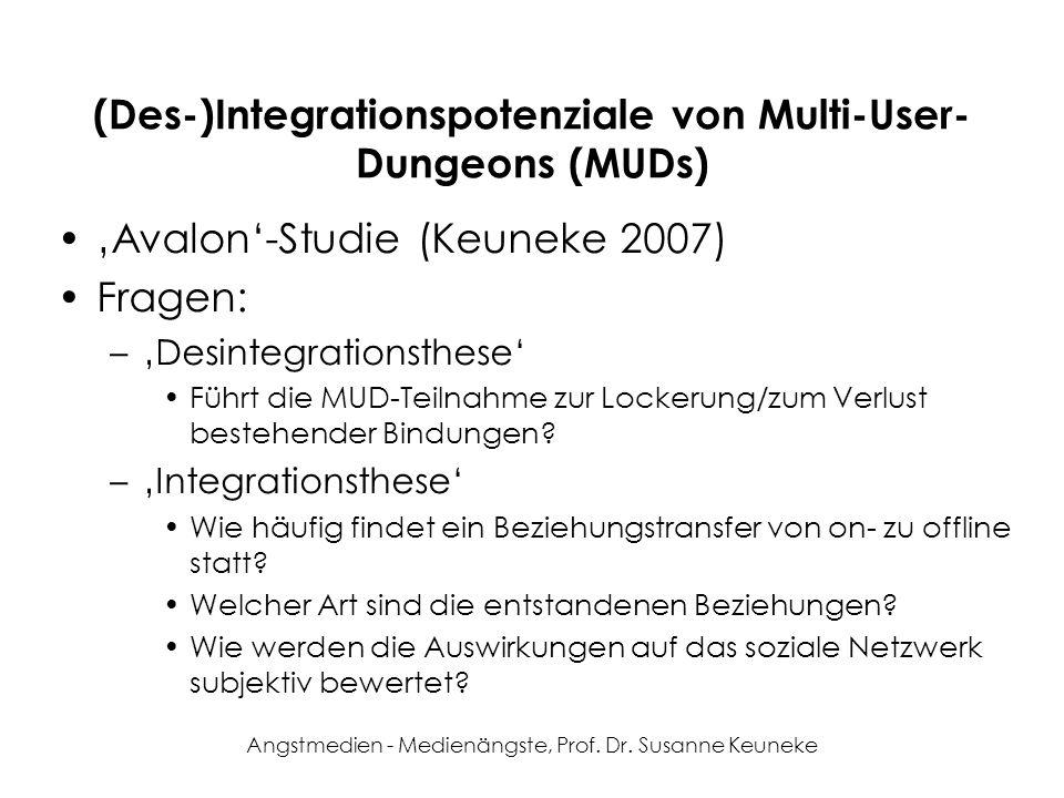 Angstmedien - Medienängste, Prof. Dr. Susanne Keuneke (Des-)Integrationspotenziale von Multi-User- Dungeons (MUDs) Avalon-Studie (Keuneke 2007) Fragen