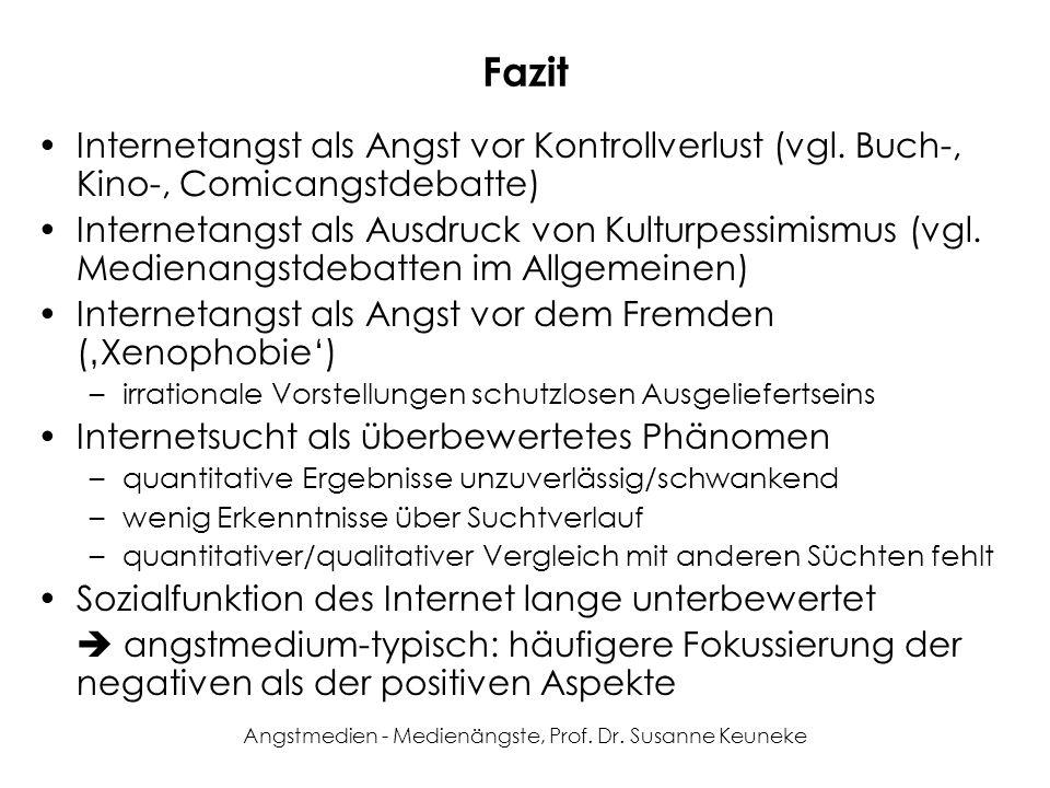 Angstmedien - Medienängste, Prof. Dr. Susanne Keuneke Fazit Internetangst als Angst vor Kontrollverlust (vgl. Buch-, Kino-, Comicangstdebatte) Interne