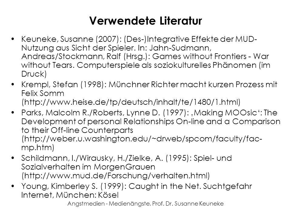 Angstmedien - Medienängste, Prof. Dr. Susanne Keuneke Verwendete Literatur Keuneke, Susanne (2007): (Des-)Integrative Effekte der MUD- Nutzung aus Sic